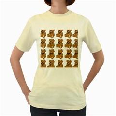 Bear Women s Yellow T Shirt by AnjaniArt