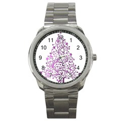 Elegant Starry Christmas Pink Metallic Look Sport Metal Watch by yoursparklingshop
