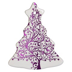 Elegant Starry Christmas Pink Metallic Look Christmas Tree Ornament (2 Sides) by yoursparklingshop