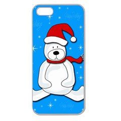 Polar Bear   Blue Apple Seamless Iphone 5 Case (clear) by Valentinaart