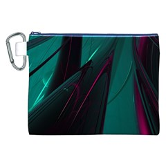 Abstract Green Purple Canvas Cosmetic Bag (xxl) by Onesevenart