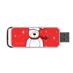 Polar Bear   Red Portable Usb Flash (two Sides) by Valentinaart