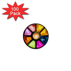 Glass Colorful Stained Glass 1  Mini Buttons (100 Pack)  by Onesevenart
