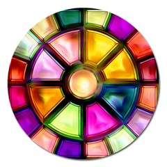 Glass Colorful Stained Glass Magnet 5  (round) by Onesevenart