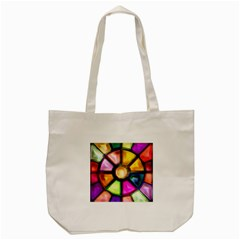 Glass Colorful Stained Glass Tote Bag (cream) by Onesevenart