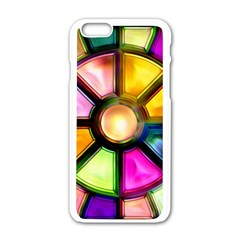 Glass Colorful Stained Glass Apple Iphone 6/6s White Enamel Case by Onesevenart