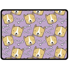 Corgi Pattern Double Sided Fleece Blanket (large)  by Onesevenart