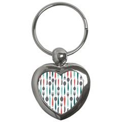 Spoon Fork Knife Pattern Key Chains (heart)  by Onesevenart