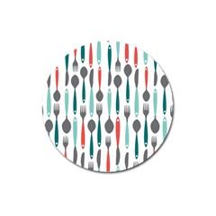 Spoon Fork Knife Pattern Magnet 3  (round) by Onesevenart