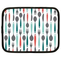Spoon Fork Knife Pattern Netbook Case (large) by Onesevenart