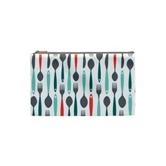 Spoon Fork Knife Pattern Cosmetic Bag (small)  by Onesevenart