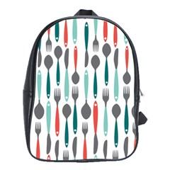 Spoon Fork Knife Pattern School Bags(large)  by Onesevenart