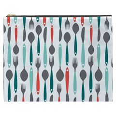 Spoon Fork Knife Pattern Cosmetic Bag (xxxl)  by Onesevenart