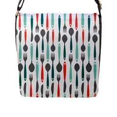Spoon Fork Knife Pattern Flap Messenger Bag (l)  by Onesevenart