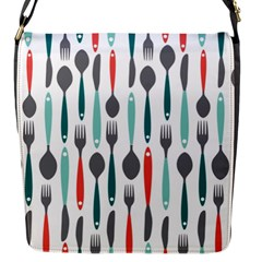 Spoon Fork Knife Pattern Flap Messenger Bag (s) by Onesevenart