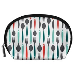 Spoon Fork Knife Pattern Accessory Pouches (large)  by Onesevenart