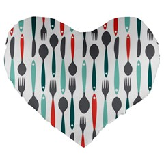 Spoon Fork Knife Pattern Large 19  Premium Flano Heart Shape Cushions by Onesevenart