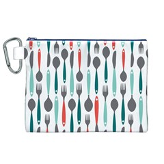 Spoon Fork Knife Pattern Canvas Cosmetic Bag (xl) by Onesevenart