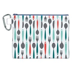 Spoon Fork Knife Pattern Canvas Cosmetic Bag (xxl) by Onesevenart