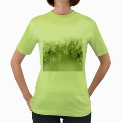 New Year Holiday Snowflakes Tree Branches Women s Green T Shirt by Onesevenart