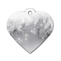 New Year Holiday Snowflakes Tree Branches Dog Tag Heart (one Side) by Onesevenart