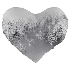 New Year Holiday Snowflakes Tree Branches Large 19  Premium Heart Shape Cushions by Onesevenart