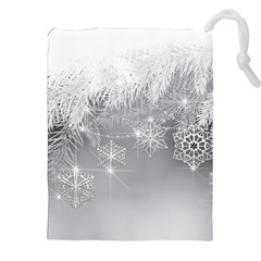 New Year Holiday Snowflakes Tree Branches Drawstring Pouches (xxl) by Onesevenart