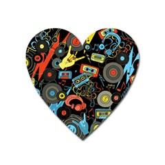 Music Pattern Heart Magnet by Onesevenart