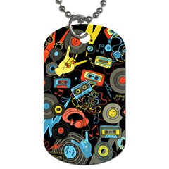 Music Pattern Dog Tag (two Sides) by Onesevenart