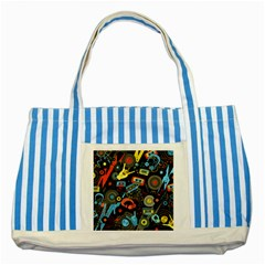 Music Pattern Striped Blue Tote Bag by Onesevenart