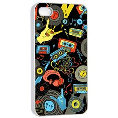 Music Pattern Apple Iphone 4/4s Seamless Case (white) by Onesevenart