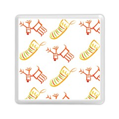 Stocking Reindeer Wood Pattern  Memory Card Reader (square)  by Onesevenart