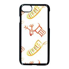 Stocking Reindeer Wood Pattern  Apple Iphone 7 Seamless Case (black) by Onesevenart