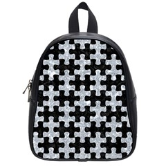 Puzzle1 Black Marble & Gray Marble School Bag (small) by trendistuff