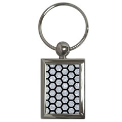 Hexagon2 Black Marble & Gray Marble (r) Key Chain (rectangle) by trendistuff