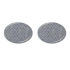 Hexagon1 Black Marble & Gray Marble (r) Cufflinks (oval) by trendistuff