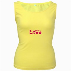 Pink Love Hearts Typography Women s Yellow Tank Top by yoursparklingshop