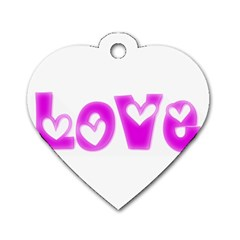 Pink Love Hearts Typography Dog Tag Heart (two Sides) by yoursparklingshop