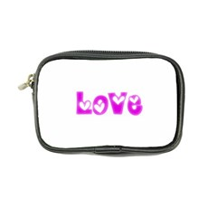 Pink Love Hearts Typography Coin Purse by yoursparklingshop