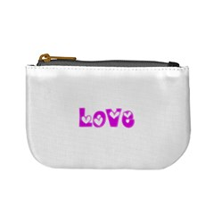 Pink Love Hearts Typography Mini Coin Purses by yoursparklingshop