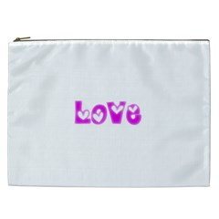 Pink Love Hearts Typography Cosmetic Bag (xxl)  by yoursparklingshop