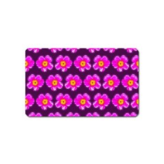 Pink Flower Pattern On Wine Red Magnet (name Card) by Costasonlineshop
