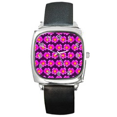 Pink Flower Pattern On Wine Red Square Metal Watch by Costasonlineshop