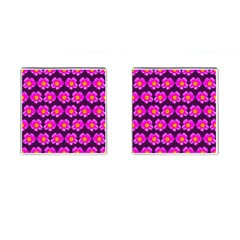 Pink Flower Pattern On Wine Red Cufflinks (square) by Costasonlineshop