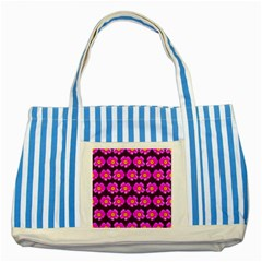 Pink Flower Pattern On Wine Red Striped Blue Tote Bag by Costasonlineshop
