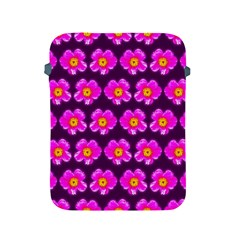 Pink Flower Pattern On Wine Red Apple Ipad 2/3/4 Protective Soft Cases by Costasonlineshop