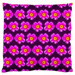 Pink Flower Pattern On Wine Red Standard Flano Cushion Case (one Side) by Costasonlineshop
