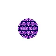 Purple Flower Pattern On Blue 1  Mini Buttons by Costasonlineshop
