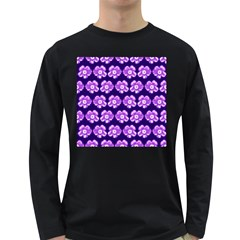 Purple Flower Pattern On Blue Long Sleeve Dark T Shirts by Costasonlineshop