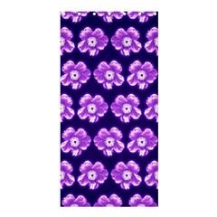 Purple Flower Pattern On Blue Shower Curtain 36  X 72  (stall)  by Costasonlineshop
